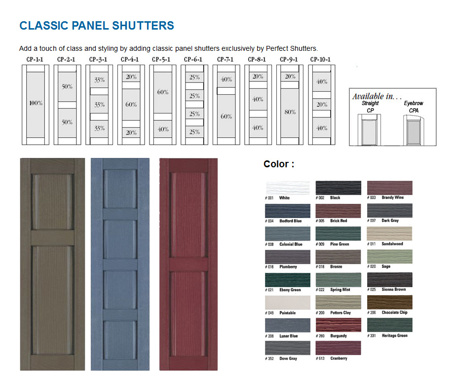Exterior Vinyl Shutter   Classic Panel Style