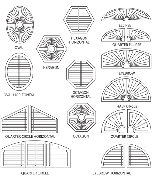 Toronto window shutters interior shutters exterior for Window shapes and sizes